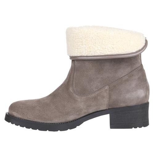 Scarpe in pelle da donna con lacci bata, grigio, 693-2381 - 15