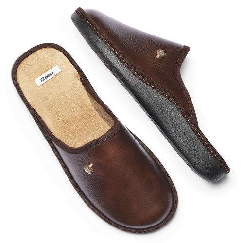 Pantofole da uomo con punta chiusa bata, marrone, 871-4304 - 19