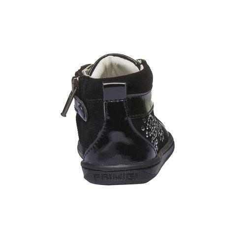 Scarpe di pelle alla caviglia con applicazioni primigi, nero, 123-6131 - 17