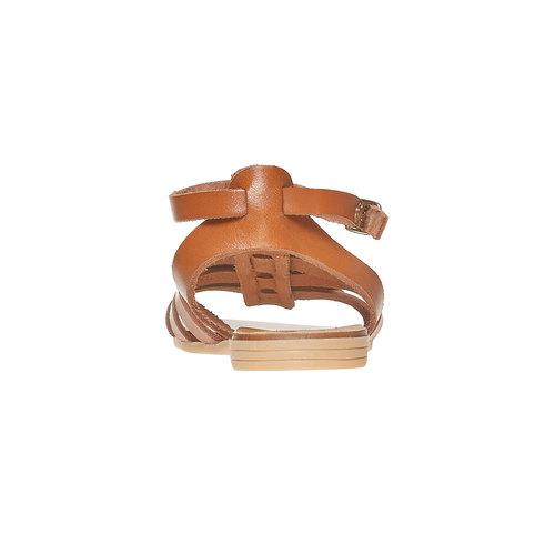 Sandali da bambina in pelle con cinturino alla caviglia. mini-b, marrone, 364-3190 - 17