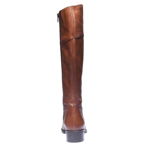 Stivali di pelle con tacco basso bata, marrone, 594-3223 - 17