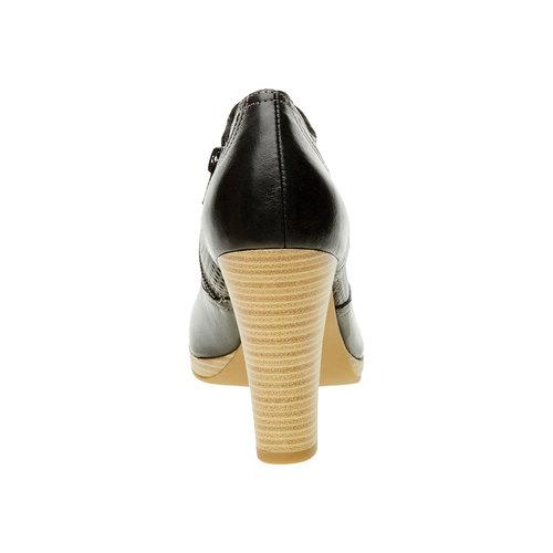 Scarpe basse di pelle con tacco bata, nero, 724-6932 - 17