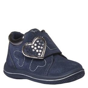 Scarpe in pelle alla caviglia con cuoricini primigi, viola, 123-9112 - 13