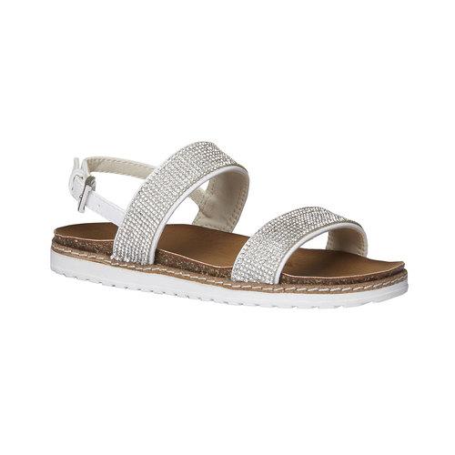 Sandali da ragazza con strass mini-b, bianco, 361-1183 - 13