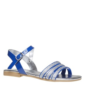 Sandali da bambina con strisce mini-b, blu, 361-9175 - 13