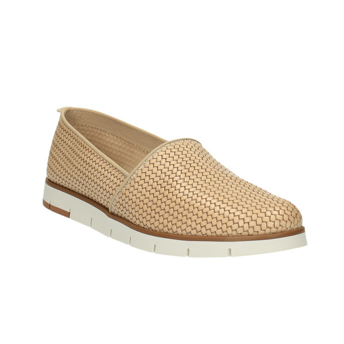 Slip-on da donna in pelle flexible, beige, 515-8203 - 13