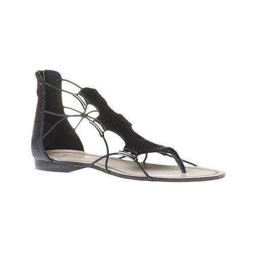 Sandali da donna con striscia sul collo del piede bata, nero, 561-6307 - 13