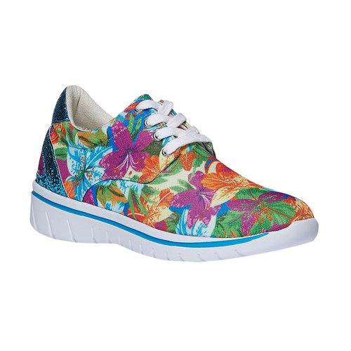 Sneakers da donna con motivo floreale north-star, viola, 549-9230 - 13