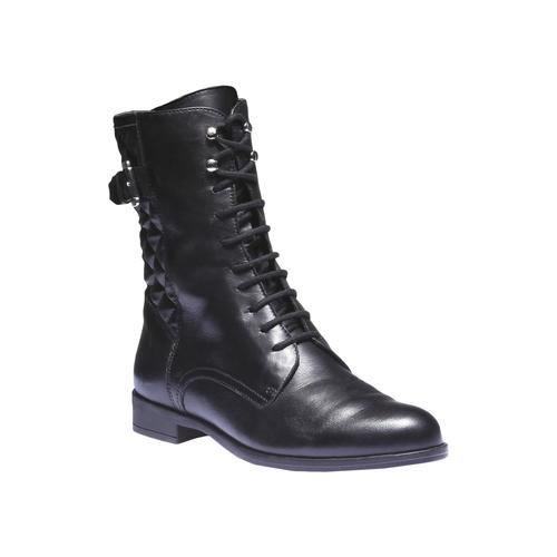 Scarpe di pelle alla caviglia con cuciture bata, nero, 594-6160 - 13