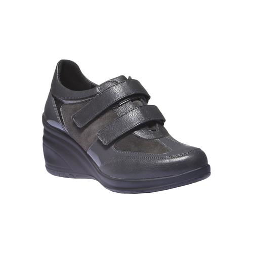 Sneakers in pelle con zeppa bata, grigio, 624-2105 - 13