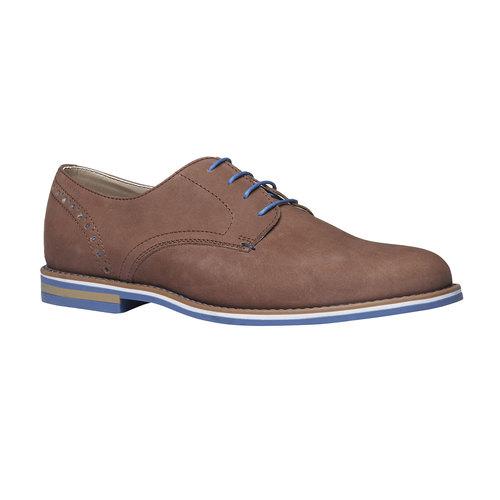 Scarpe basse di pelle con suola colorata bata, marrone, 826-4839 - 13