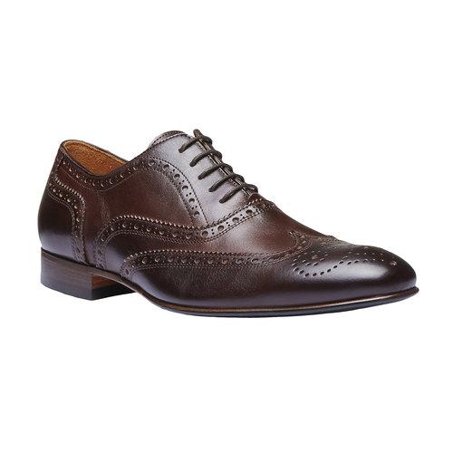 Scarpe basse da uomo in pelle con decorazioni shoemaker, marrone, 824-4145 - 13
