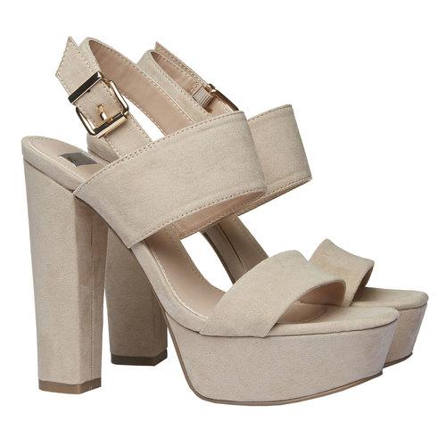 Sandali da donna con tacco massiccio bata, beige, 769-8541 - 26