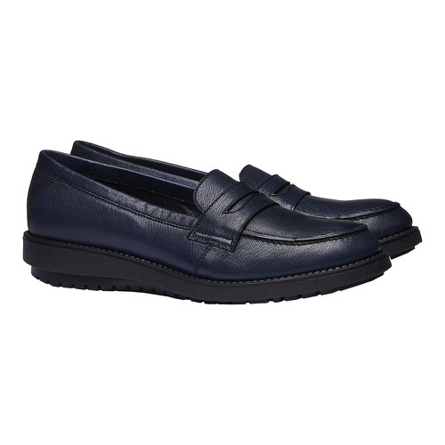 Scarpe di pelle in stile Loafer flexible, viola, 514-9185 - 26