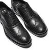 Scarpe di pelle in stile Oxford con decorazione Brogue bata, nero, 824-6801 - 26