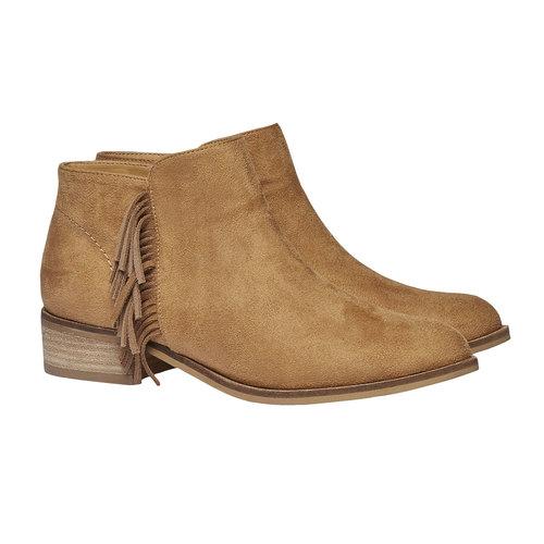 Stivaletti alla caviglia con frange bata, marrone, 599-3102 - 26