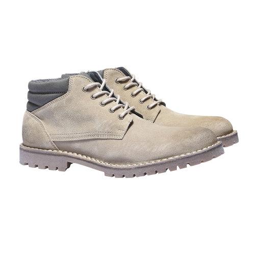 Scarpe in pelle con suola vistosa weinbrenner, beige, 843-8351 - 26