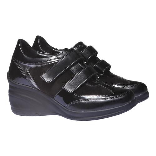 Sneakers in pelle con zeppa bata, nero, 621-6105 - 26