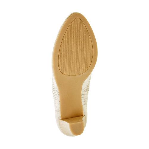 Scarpe basse di pelle con tacco bata, bianco, 724-8932 - 26