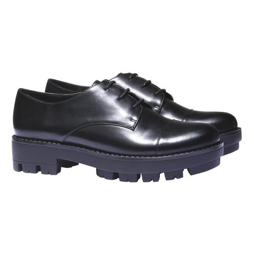 Scarpe basse con suola massiccia bata, nero, 521-6398 - 26