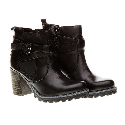 Scarpe in pelle alla caviglia bata, nero, 794-6167 - 26