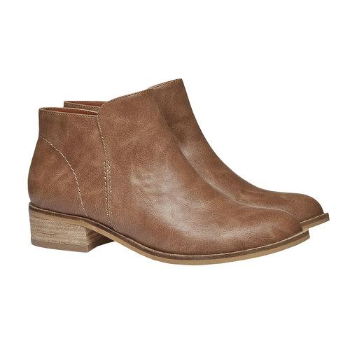 Stivaletti alla caviglia con tacco basso bata, marrone, 591-3578 - 26