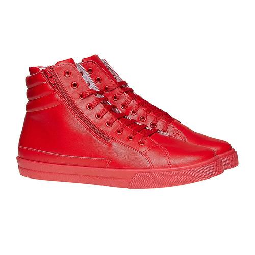 Scarpe da uomo alla caviglia con cerniere north-star, rosso, 841-5503 - 26
