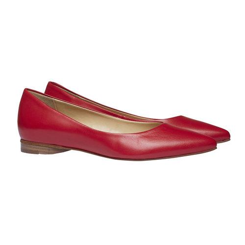 Ballerine da donna in pelle a punta bata, rosso, 524-5493 - 26