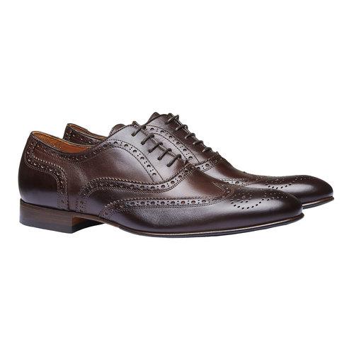 Scarpe basse da uomo in pelle con decorazioni shoemaker, marrone, 824-4145 - 26