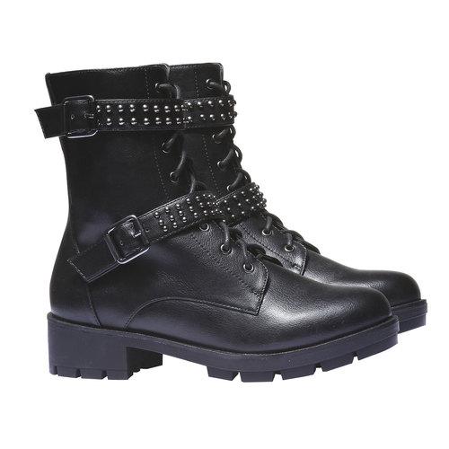Scarpe da donna con lacci bata, nero, 691-6152 - 26