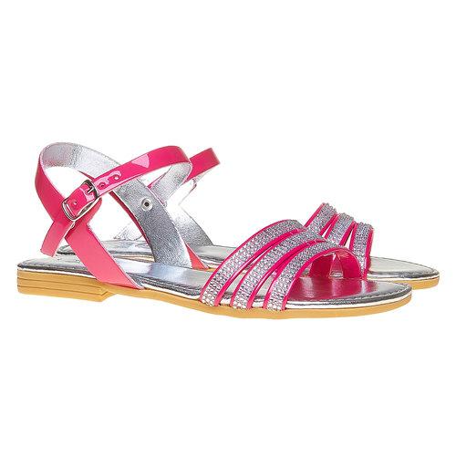 Sandali da ragazza con strass mini-b, rosa, 361-5175 - 26
