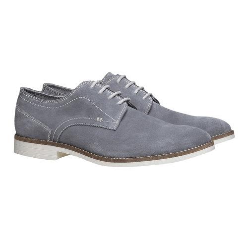 Scarpe basse di pelle in stile Derby bata, grigio, 823-2558 - 26