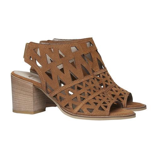 Sandali di pelle con tacco ampio bata, marrone, 763-8532 - 26