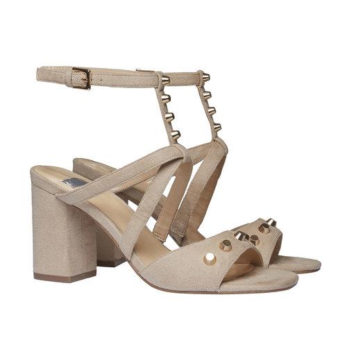 sandalo da donna con tacco bata, beige, 769-8534 - 26