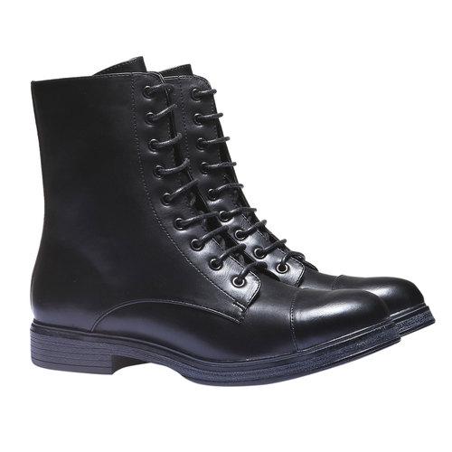 Sneakers alte con lacci bata, nero, 591-6106 - 26