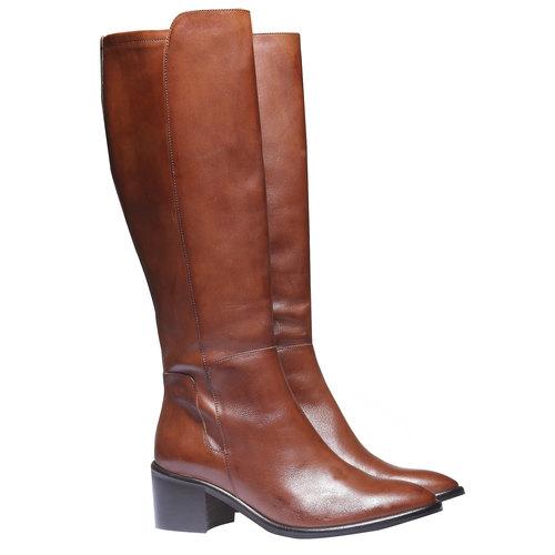 Stivali di pelle bata, marrone, 694-3252 - 26