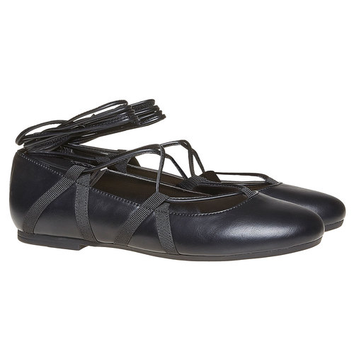 Ballerine da donna con lacci bata, nero, 521-6142 - 26