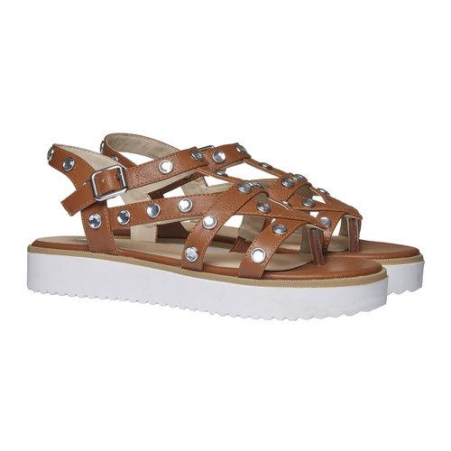 Sandali da donna con strisce e flatform bata, marrone, 561-3225 - 26