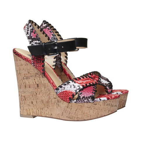 Sandali da donna con plateau bata, rosso, 761-5527 - 26