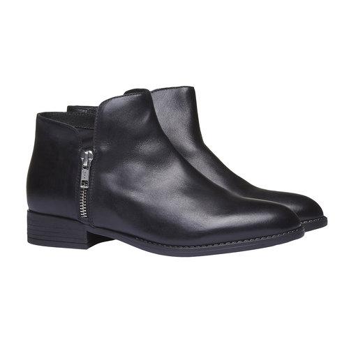 Stivaletti di pelle alla caviglia con cerniere bata, nero, 594-6670 - 26