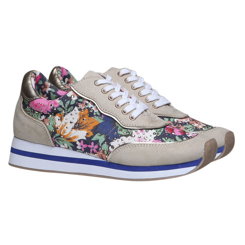 Sneakers da donna con motivo floreale north-star, viola, 549-9211 - 26