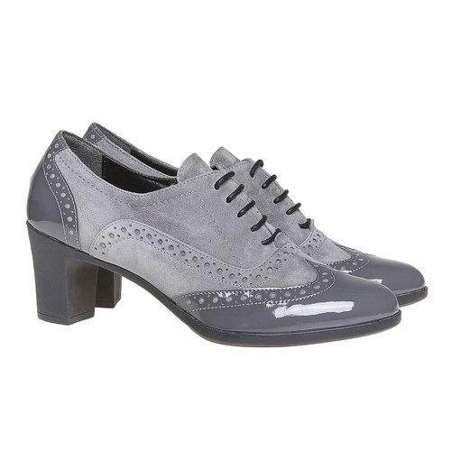 Scarpe basse da donna in pelle con tacco flexible, grigio, 623-2155 - 26