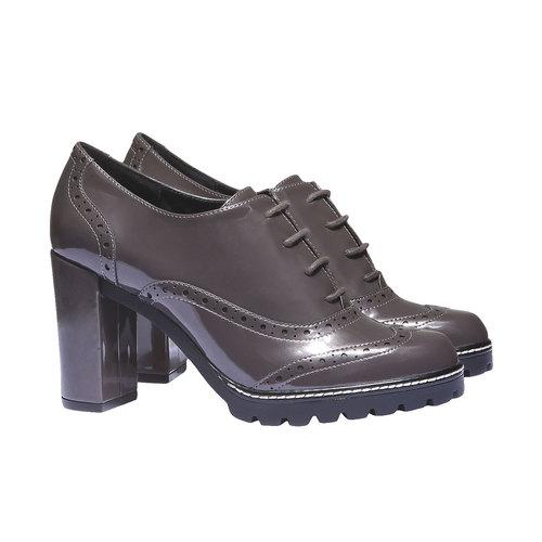 Scarpe basse da donna con tacco alto bata, grigio, 721-2154 - 26