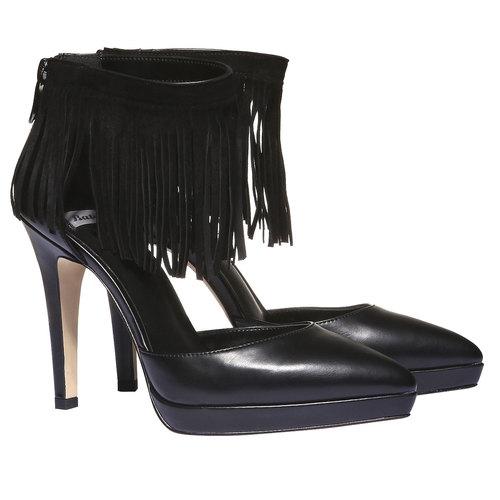 Décolleté con frange intorno alla caviglia bata, nero, 721-6308 - 26