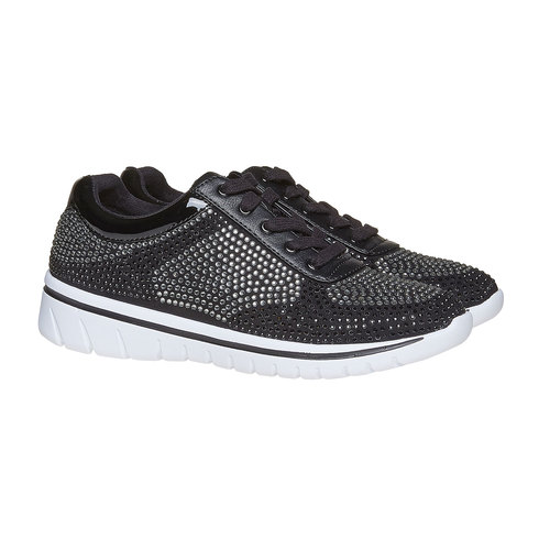 Sneakers da donna con strass north-star, nero, 549-6261 - 26