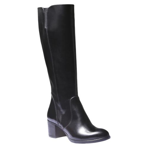 Stivali di pelle con tacco basso bata, nero, 794-6184 - 13