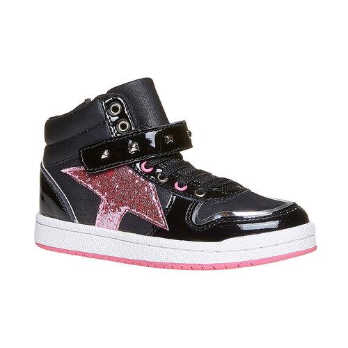 Sneakers da ragazza verniciate con glitter mini-b, nero, 221-6176 - 13