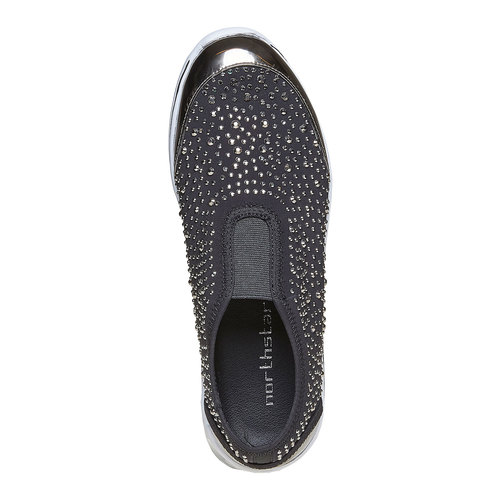 Sneakers slip-on con strass north-star, grigio, 539-2109 - 19