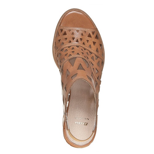 Sandali di pelle con tacco ampio bata, marrone, 764-3532 - 19