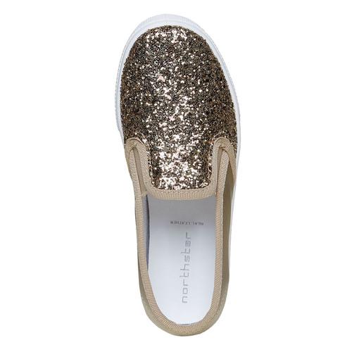 Slip-on da ragazza con glitter north-star, oro, 329-8235 - 19